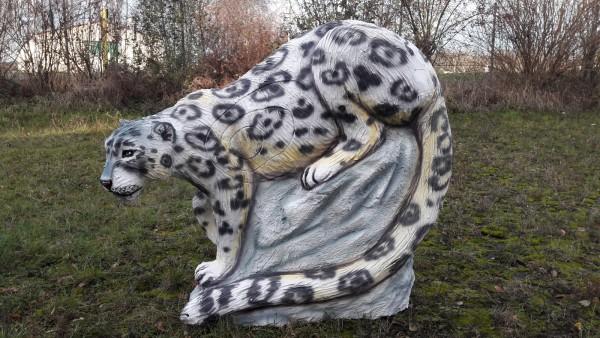 Gartenfigur Schneeleopard